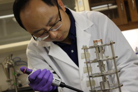 Dr Zhou in lab