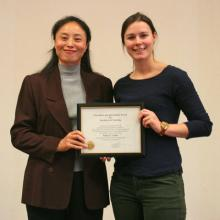 Kelsey Lubin receiving the Keilny award for Dr. Yang